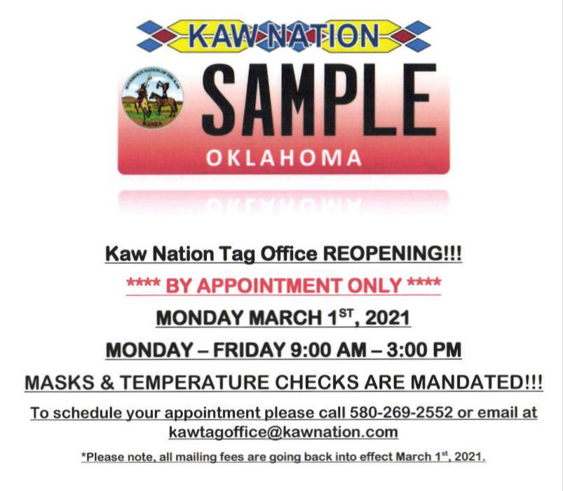 Kaw Nation Tag Office Reopening