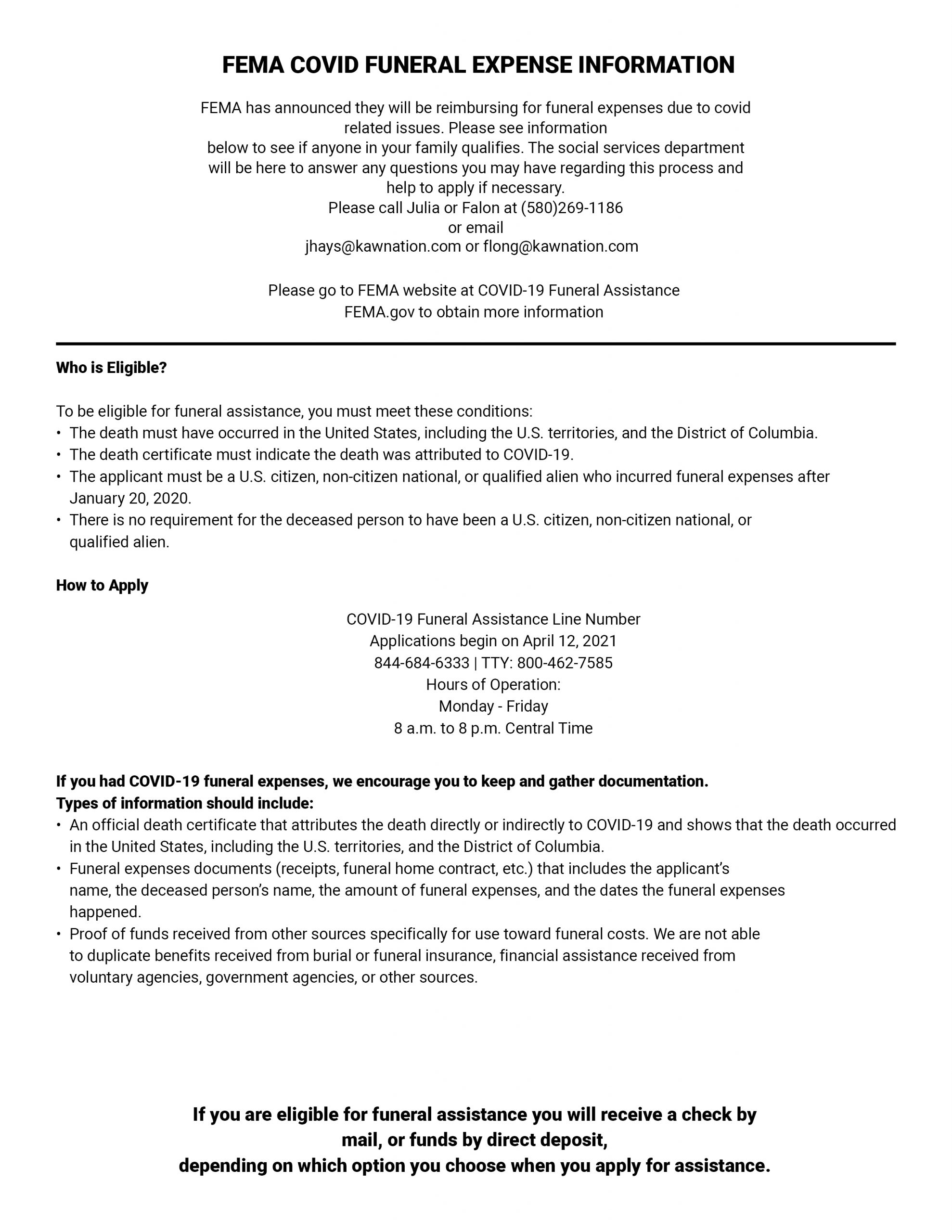 FEMA COVID FUNERAL EXPENSE INFORMATION